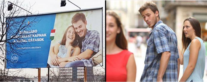 Links de advertentie in Hongarije, rechts de bekende meme met hetzelfde koppel.