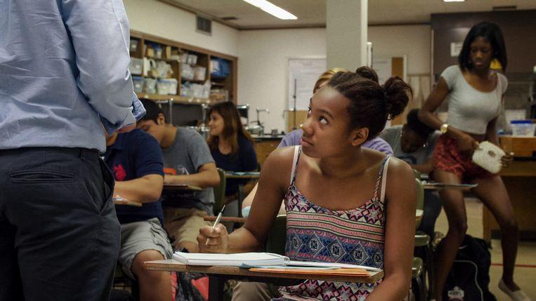 Een scène uit America to Me, een docu-serie over een gemengde eliteschool in een buitenwijk van Chicago.  Beeld