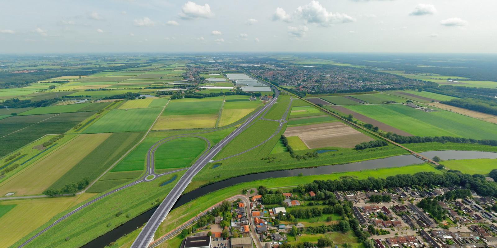 De nieuwe verkeerssituatie in de Baardwijkse Overlaat tussen Waalwijk en Drunen, als de GOL-plannen worden uitgevoerd. Voorlopig is het wachten op de uitspraak van de Raad van State.