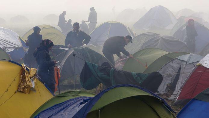 Een vluchtelingenkamp bij de Grieks-Macedonische grens
