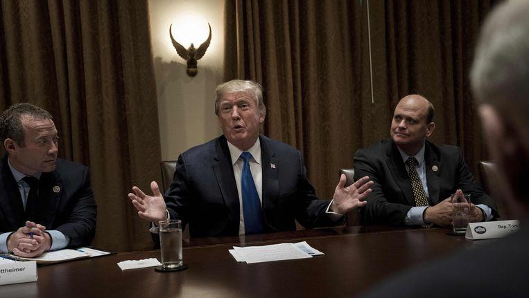 Donald Trump in de Cabinet Room van het Witte Huis. Beeld afp