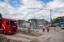 Het stadsstrand eind september 2020 bij het begin van de bouwwerkzaamheden.