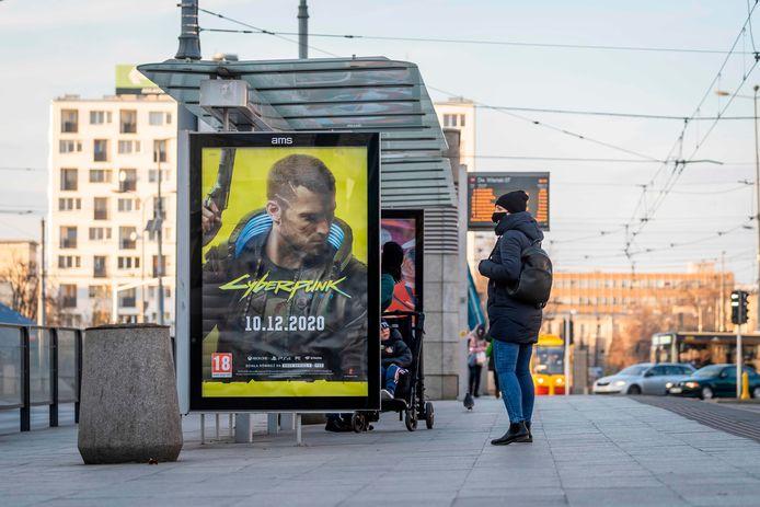 De release van 'Cyberpunk 2077' ging in december 2020 gepaard met een grote promotiecampagne, zoals hier in de Poolse hoofdstad Warschau.