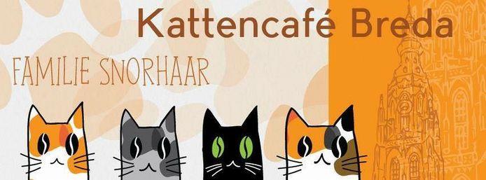 Het logo van kattencafé Familie Snorhaar op de website.