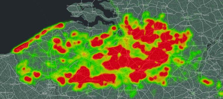 Deze heat map toont voor welke gebieden mensen het vaakst wandelroutes hebben gedownload op Wandelknooppunt. Beeld Wandelknooppunt.be