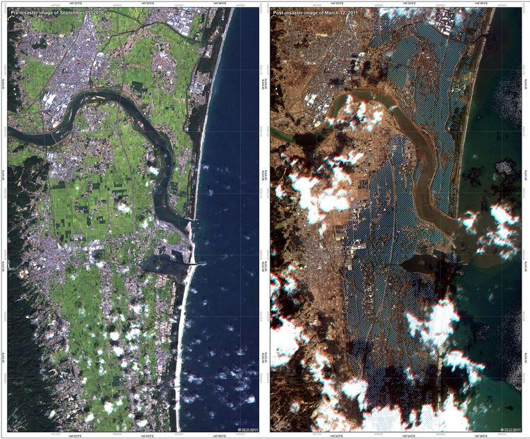 De stad Torinoumi, aan de Japanse oostkust, voor en na de aardbeving en tsunami van 11 maart 2011. Beeld AFP