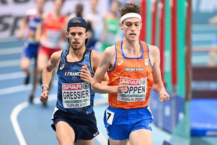 Mike Foppen op de 3000 meter tijdens de EK atletiek in Polen.
