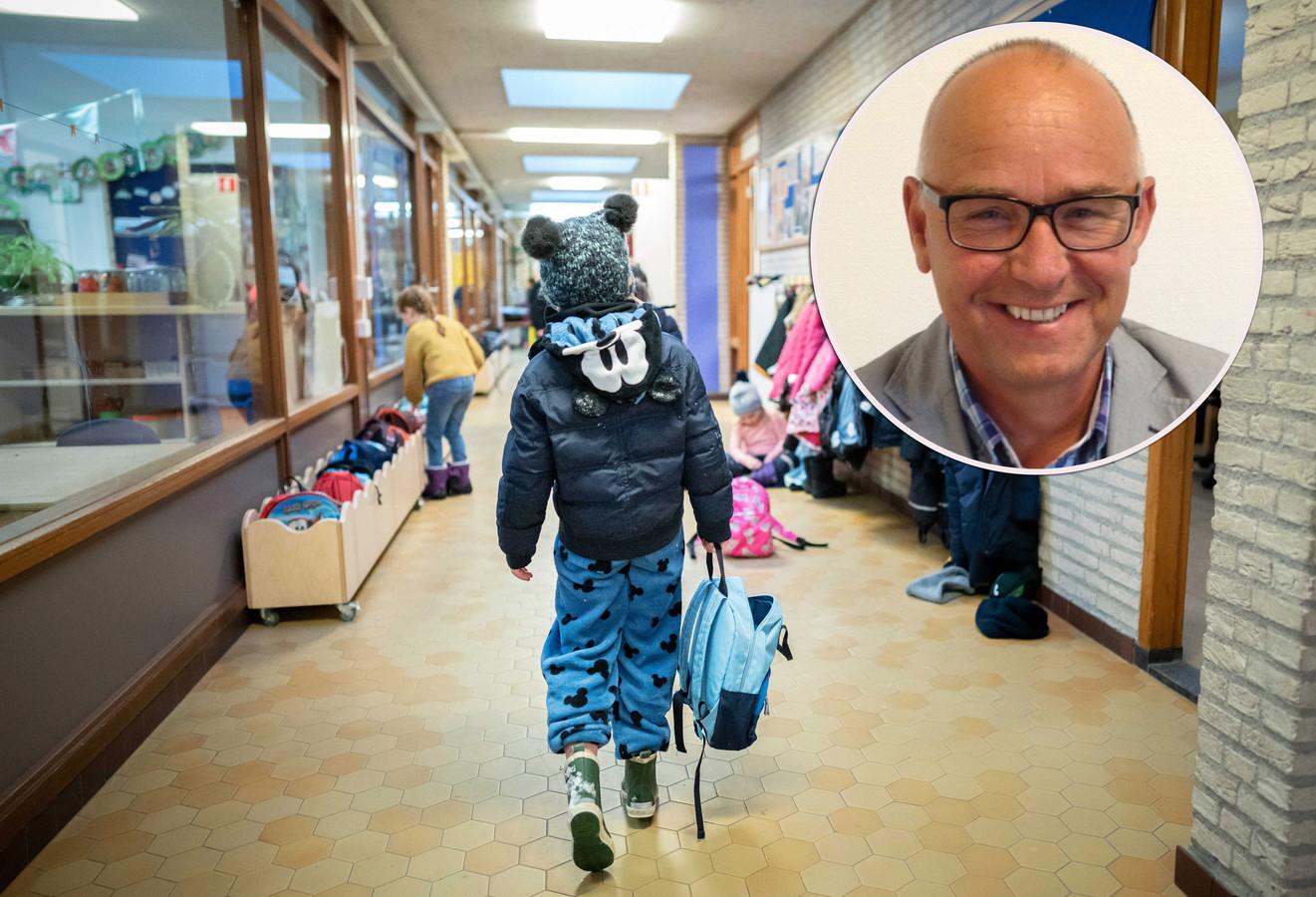 Henk Brink (portret) met foto ter illustratie van school.
