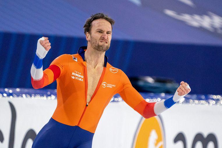 Thomas Krol, ook voor hemzelf onverwacht sprintkampioen. Beeld BSR Agency