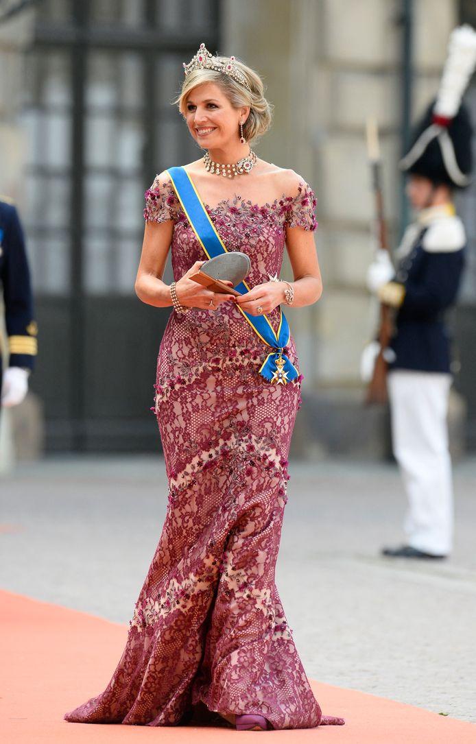 Koning Maxima bij de bruiloft van de Zweedse kroonprins Carl Philip en Sofia Hellqvist in 2015.  AFP PHOTO / JONATHAN NACKSTRAND