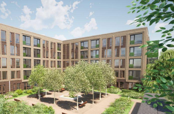 De nieuwbouw van de Koppels aan de Zijpe in Zwolle - hier op een impressie - telt straks 105 moderne appartementen.