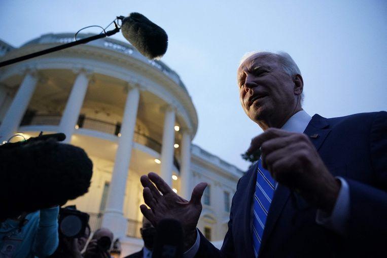 President Joe Biden voor het Witte Huis in Washington D.C. Beeld AFP