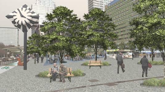 Een artist impression van het KJ-plein zoals de Partij voor de Dieren dat het liefst ziet.