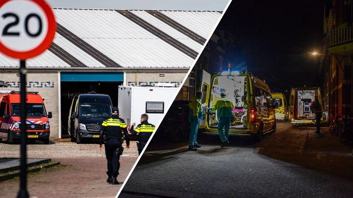 Agenten lopen bij het gevonden drugslab in Arnhem. Rechts: ambulances bij het studentenhuis in Nijmegen.