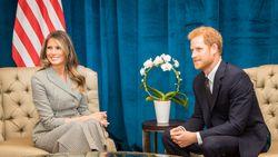 Melania Trump ontmoet prins Harry op eerste officiële soloreis
