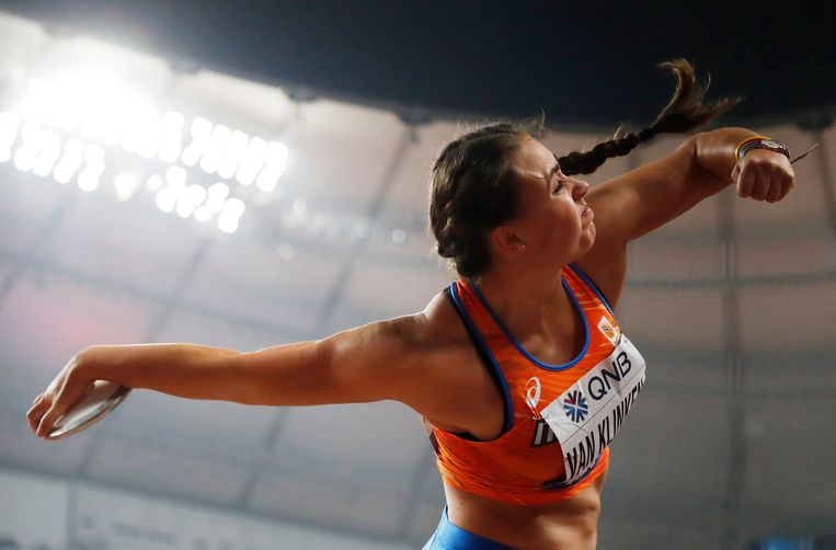 Jorinde van Klinken tijdens de kwalificaties van de wereldkampioenschappen atletiek in 2019. Beeld EPA
