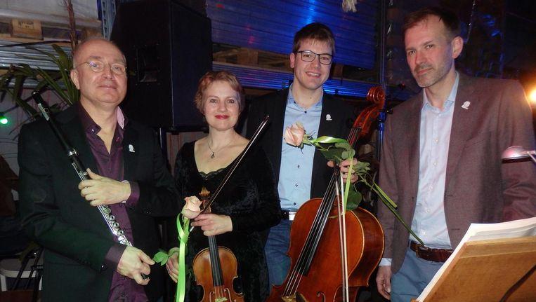 De musici: Leon Berendse (fluit), Saskia Viersen (viool), Björn Schwarze (cello) en David Jansen (klavecimbel). Hulde Beeld Schuim