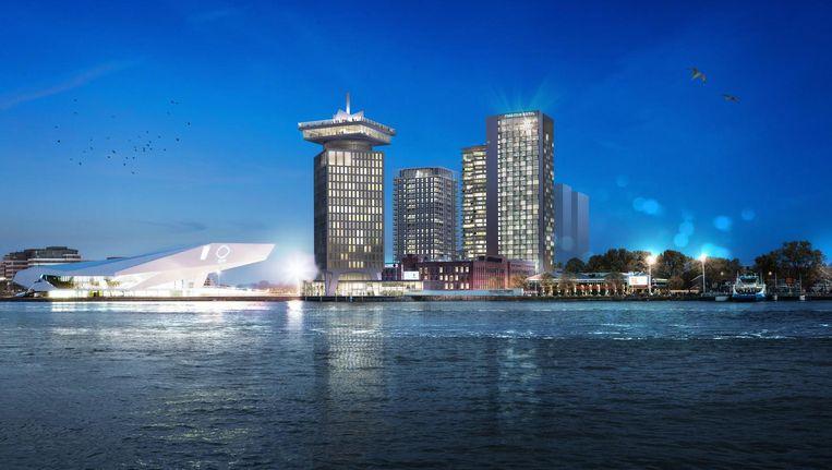 De skyline van Amsterdeam Noord rond 2020, met rechts de hoteltoren van het Maritim-congrescentrum. Beeld Team V