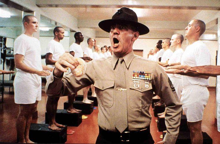 R. Lee Ermey in 'Full Metal Jacket': 'Holy Jesus! What is that, Private Pyle?'  Beeld BELGAIMAGE