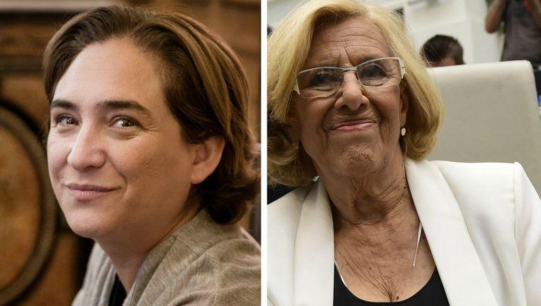 Ada Colau (links) mag in Barcelona de burgemeesterssjerp dragen, in Madrid valt die eer ex-rechter Manuela Carmena (rechts) te beurt. Beeld Eric De Mildt/Reuters