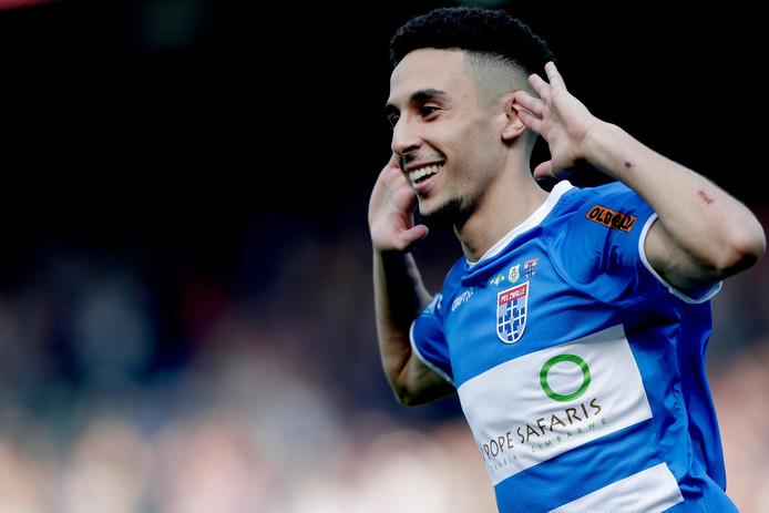 Younes Namli of PEC Zwolle celebrates during PEC Zwolle - Fortuna Sittard NETHERLANDS, BELGIUM, LUXEMBURG ONLY COPYRIGHT BSR/SOCCRATES