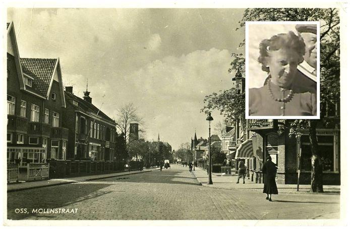 De Osse Molenstraat in 1938, met links op de hoek het huis waar Eva Hes-Beek woonde.