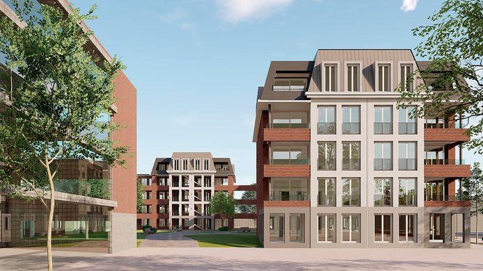 Artist impression van het nieuwe appartementencomplex van Beth-San.