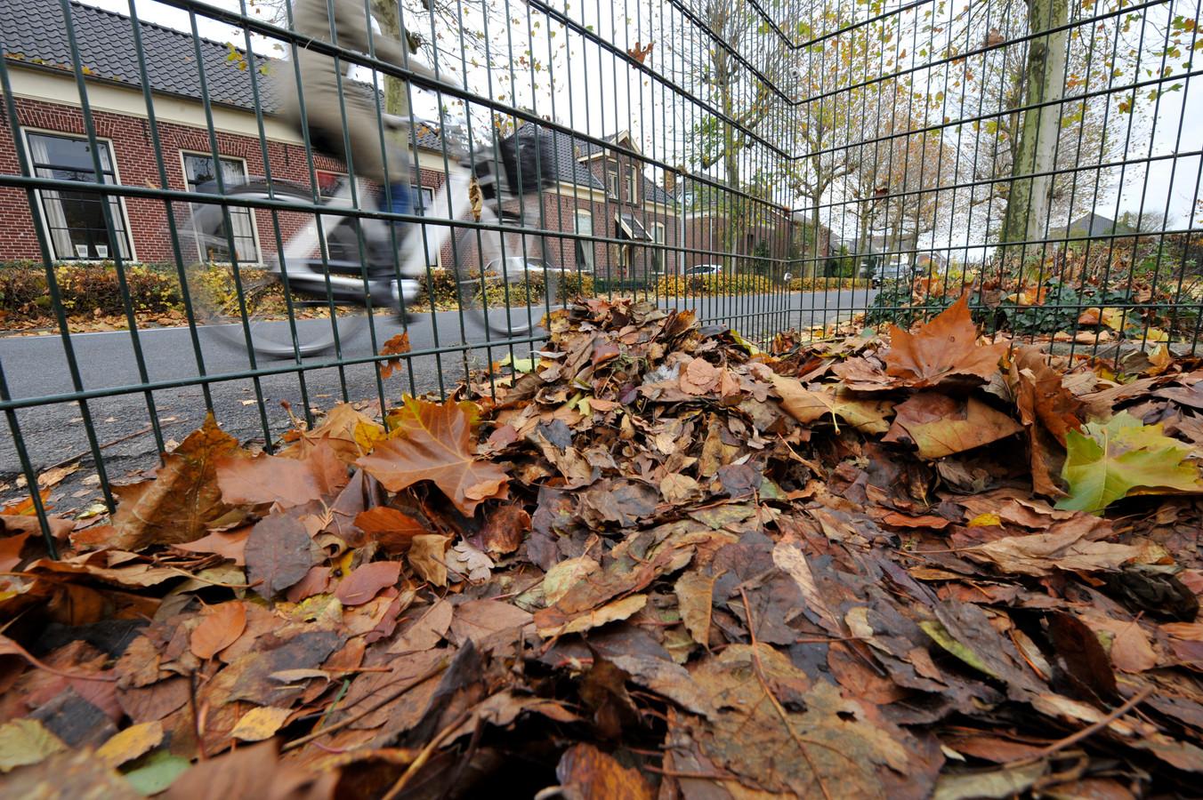 De gemeente Hof van Twente plaatst iedere herfst bladkorven op verschillende locaties in de kernen.