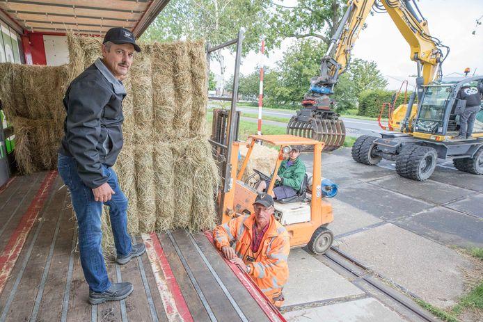 In Krabbendijke wordt hooi opgeladen voor Limburg, vlnr: Kees Hanse, boer Adri van den Dorpel en Pieter van den Dorpel (op de heftruck).