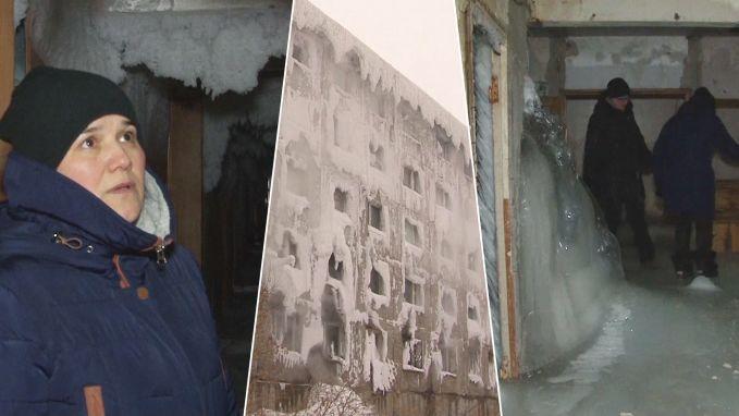 IJs aan plafond en spekgladde vloer: onthutsende beelden van bevroren flatgebouw