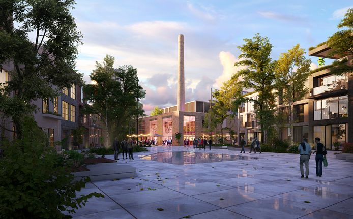 Impressie van het Cobercokwartier aan de Nieuwe Kade in Arnhem, met centraal de schoorsteen van de oude melkfabriek.