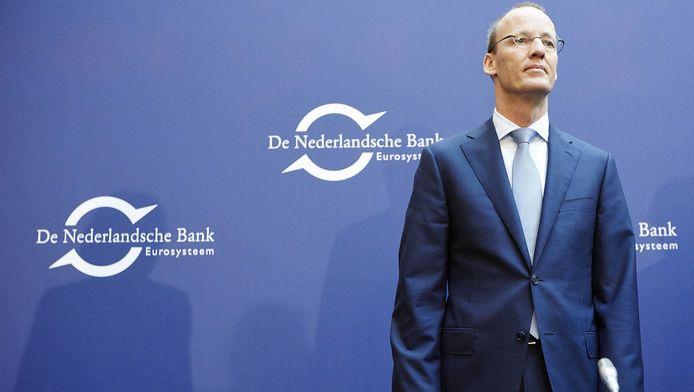 President Klaas Knot tijdens de persconferentie over het jaarverslag van De Nederlandsche Bank gisteren.