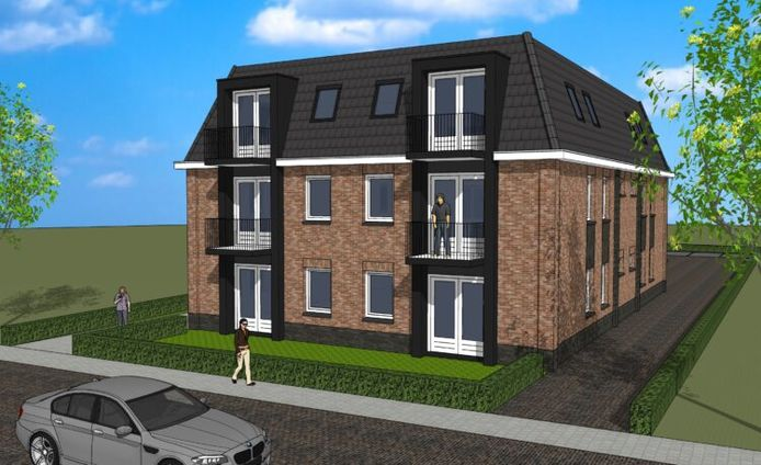 Een schetsontwerp voor het nieuwe appartementencomplex van Met Elkaar aan de Abdijstraat in Heeswijk-Dinther.