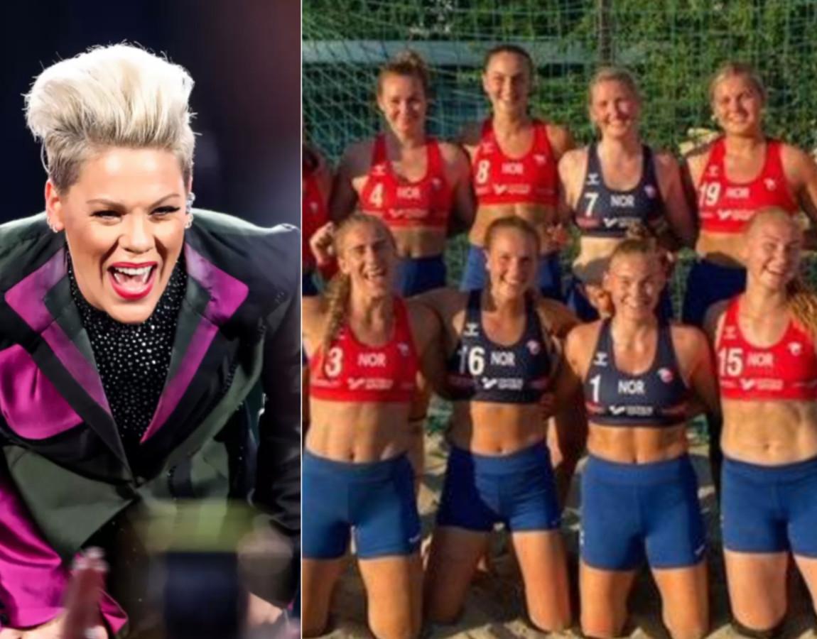 Pink et les joueuses de l'équipe féminine de Norvège, en short.