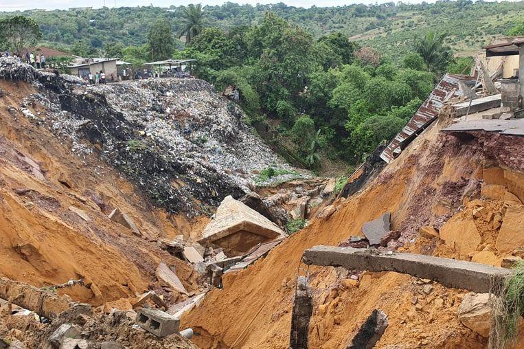 De stroom van modder,  zand en andere sedimentatie kent zijn oorsprong in december 2019, toen de Kongo kampte met grote overstromingen. Beeld AFP