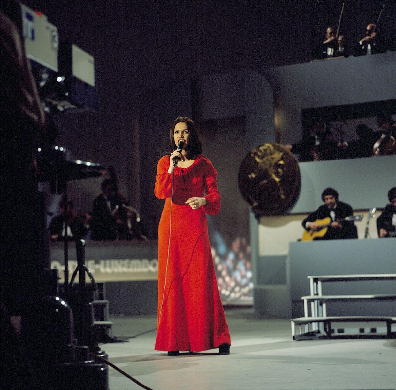 Anne-Marie David won in 1973 namens Frankrijk het Eurovisiesongfestival. Beeld ANP Kippa