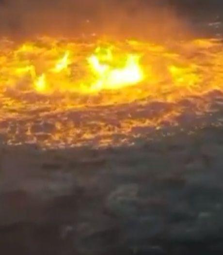 Gaslek in pijpleiding bij Golf van Mexico zorgt voor zee-inferno