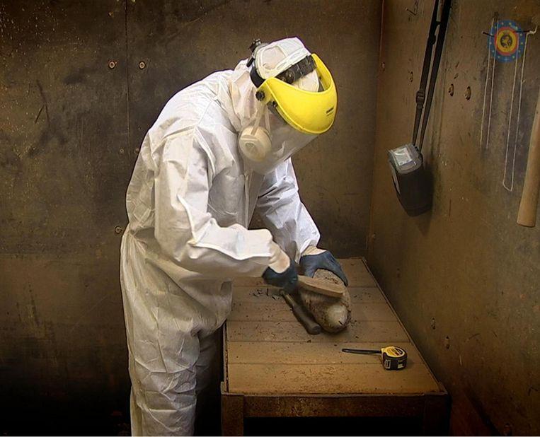 In de kazerne worden de binnengebrachte springtuigen zorgvuldig gereinigd.