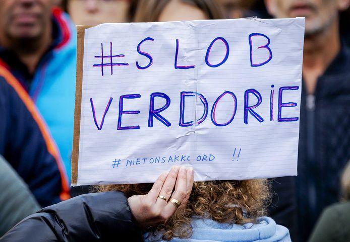 Deelnemers tijdens de onderwijsstaking van Leraren in Actie in Den Haag.