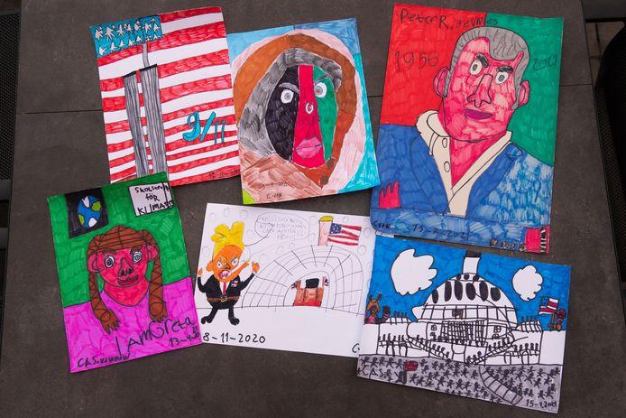 Actuele tekeningen van Cas van de Wouw. Boven vlnr: Twin Towers, Afghaans meisje, Peter R. de Vries. Onder vlnr: Greta Thunberg, Donald Trump en de bestorming van het Capitool.
