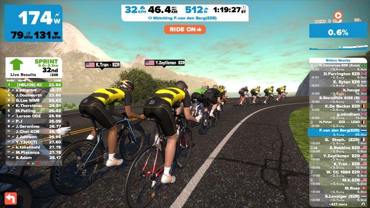 Een scène uit Zwift, een virtueel wielerspel dat in sneltempo aan populariteit wint Beeld Zwift.com