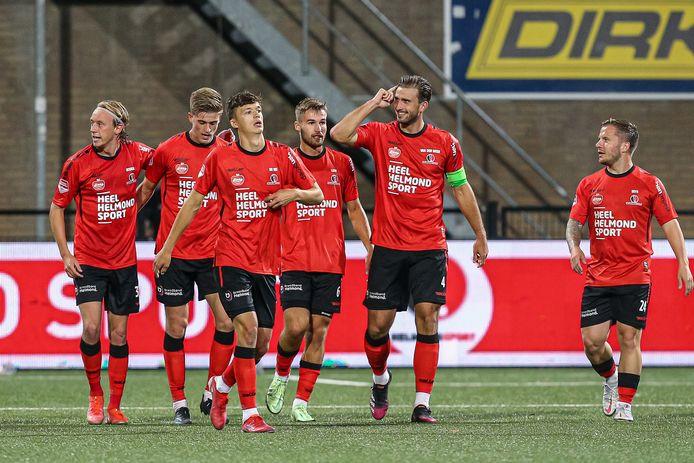 Helmond Sport vierde afgelopen vrijdag tegen Jong PSV de eerste overwinning van het seizoen.