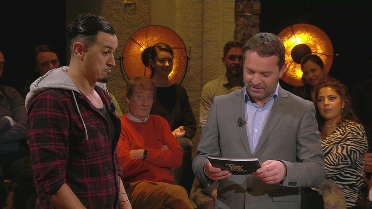 Kamal El Oualkadi was de laatste kandidaat van het tweede seizoen 'Sorry voor alles' met Adriaan Van den Hoof. Beeld VRT