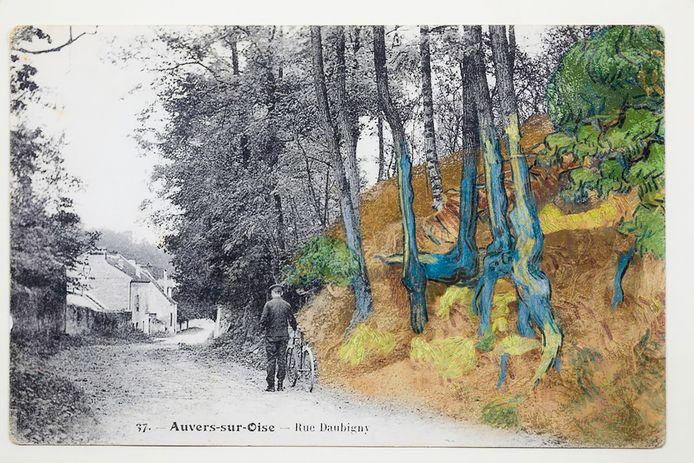 Beeldmontage van het schilderij van Vincent van Gogh ingetekend op de plaats waar hij het 130 jaar geleden heeft geschilderd.