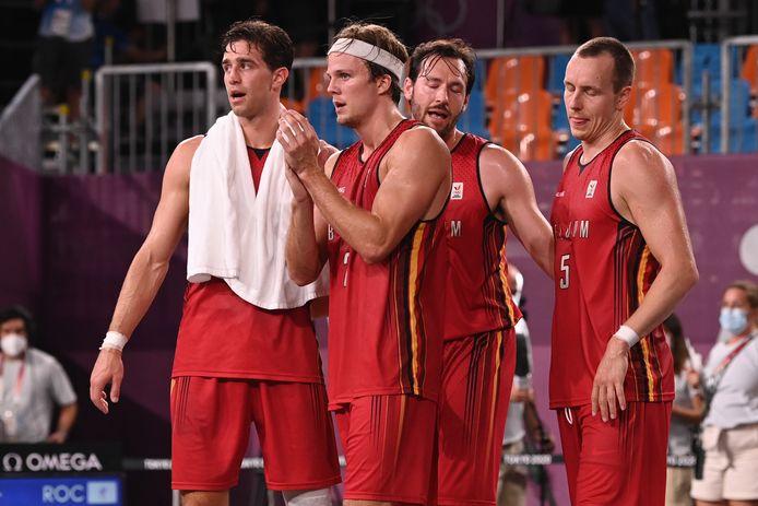 Rafael Bogaerts, Thibaut Vervoort, Thierry Marien en Nick Celis eindigden knap vierde in het basket 3x3.