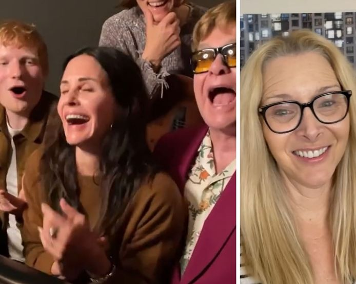 Courteney Cox recrute Ed Sheeran, Brandi Carlile et Elton John pour faire une surprise à Lisa Kudrow.