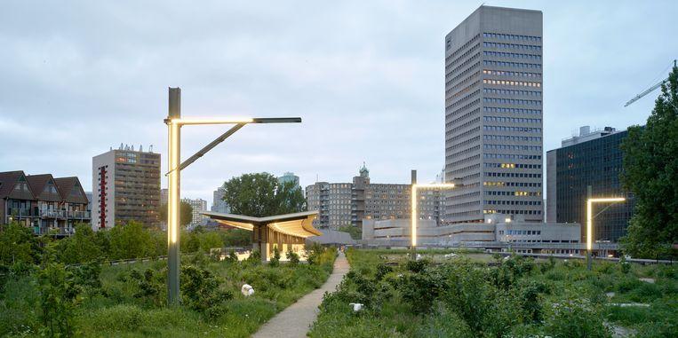 Het Rotterdamse 'highline' park is, net als het New Yorkse origineel, gebouwd op een oude spoorlijn.  Beeld Walter Herfst/ZUS