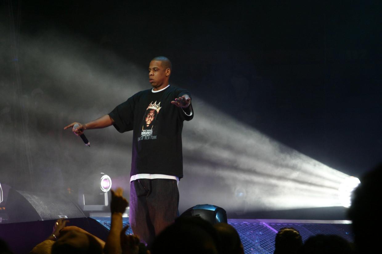 Jay-Z in Madison Square Garden, NewYork, november 2003. Dit was zogezegd zijn afscheidsconcert. Beeld Alamy Stock Photo