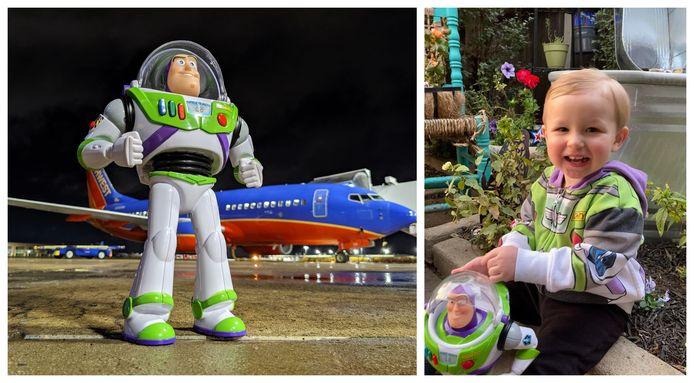Buzz Lightyear tijdens zijn avontuur op de luchthaven, en de kleine Hagen achteraf herenigd met Buzz.