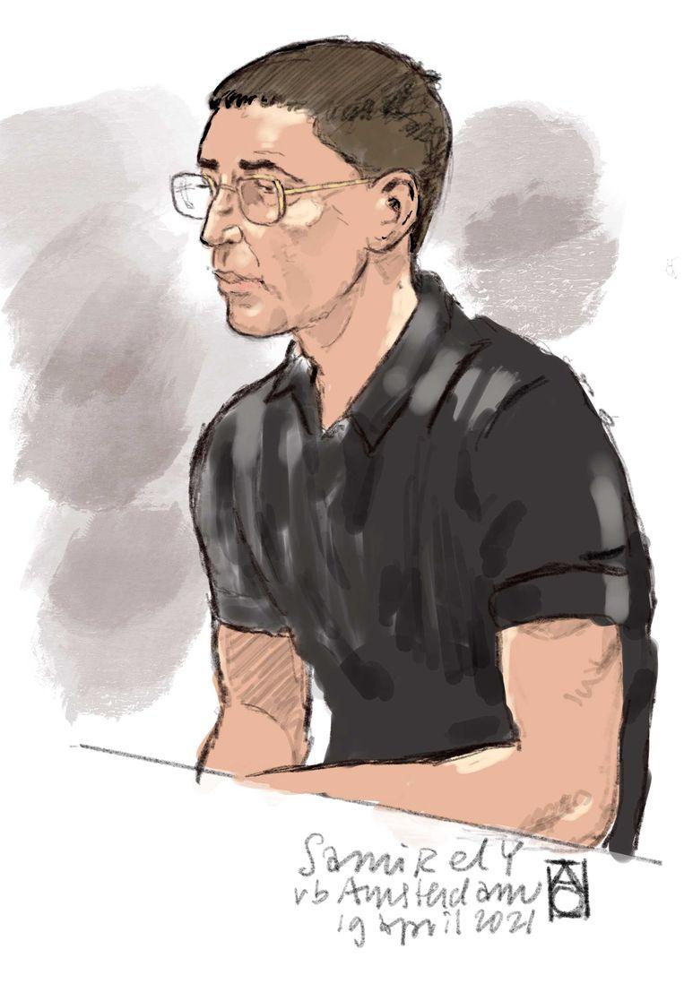Rechtbanktekening van Samir El Y. tijdens een inhoudelijke zitting bij de rechtbank van Amsterdam over het doodschieten van Bas van Wijk op 8 augustus 2020.  Beeld Aloys Oosterwijk / ANP